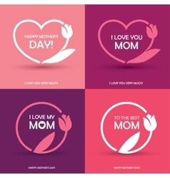 Four mothers day greeting cards vector
