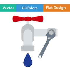 Flat design icon of wrench and faucet vector