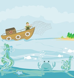 a Fisherman at Work vector image