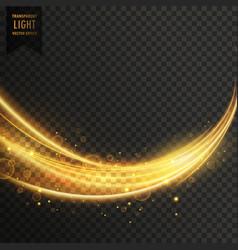 Abstract golden transparent light wavy streak vector
