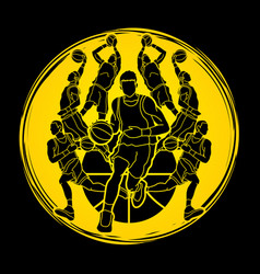 Basketball team player dunking dripping ball actio vector