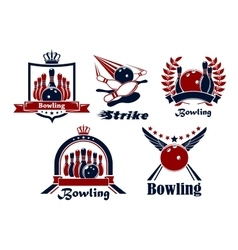Bowling emblems with game items vector