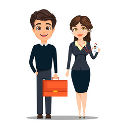 Businessman and businesswoman cute cartoon vector