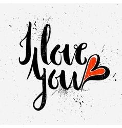 Calligraphic inscription I love you vector image