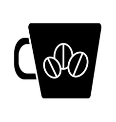 coffee cup with coffee beans icon vector image