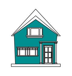color silhouette cartoon blue facade irregular vector image