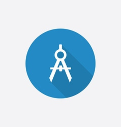 compasses Flat Blue Simple Icon with long shadow vector image vector image