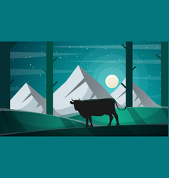 Cow in the forest - cartoon lanscape vector