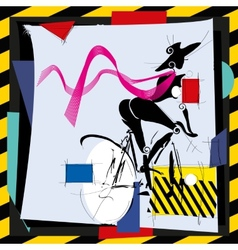 Cubismfashion girl by bicycle vector