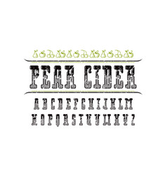 Decorative serif font and pear cider label vector