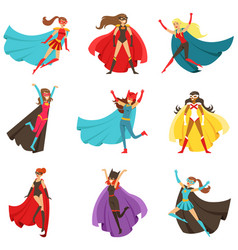 Female superheroes in classic comics costumes with vector