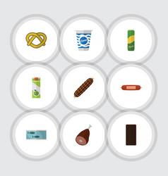 Flat icon meal set of smoked sausage kielbasa vector