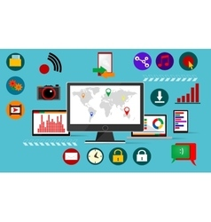 Flat madia icons infographic vector image vector image