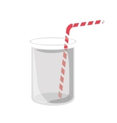 Glass container with straw vector