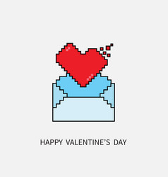 Happy valentines day 8 bit pixel heart and email vector