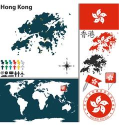 Hong kong map world vector