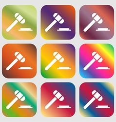 Judge or auction hammer icon nine buttons with vector