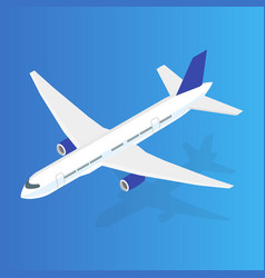 Large passenger airplane 3d isometric flat high vector