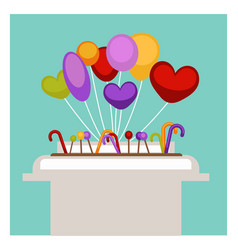 Lollipop and balloons in supermarket shop or vector