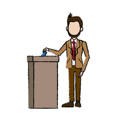 Man in a suit businessman putting paper in the vector