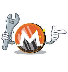 Mechanic monero coin character cartoon vector