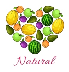 Natural fruits poster of fruit heart shape vector