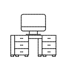 office desk and computer workspace furniture vector image