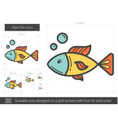 Raw fish line icon vector