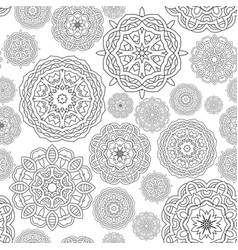 seamless pattern black white round mandalas vector image vector image