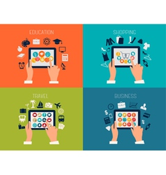 Set of flat design backgrounds for education vector image vector image