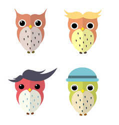 set of owls cartoon vector image