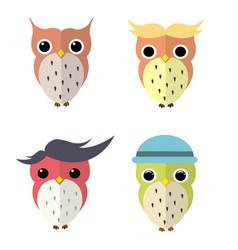 set of owls cartoon vector image vector image