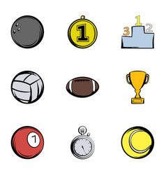 Sport balls icons set cartoon style vector
