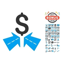 Success roads icon with 2017 year bonus pictograms vector