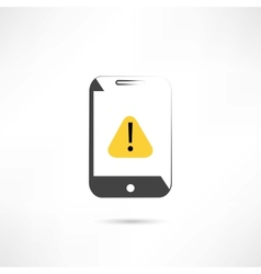 Warning on cellphone vector
