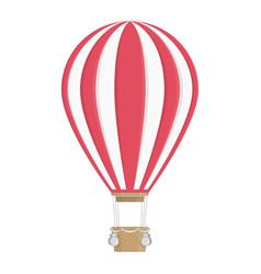 white and red hot air balloon vector image