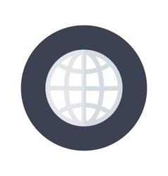 White globe icon over blue vector