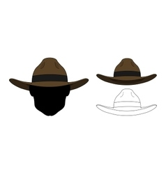 Wild west old fashion hat Color Contour vector image