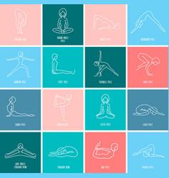 yoga icon linear set vector image vector image