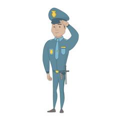 Young hispanic police officer saluting vector