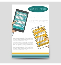 Brochure template chat bot connected flyer vector