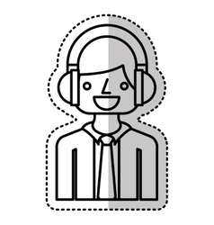 Businessman character with headset isolated icon vector