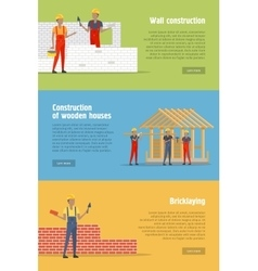 Set of construction conceptual banners vector