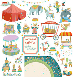 vintage circus collection of elements vector image