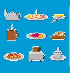 breakfast stickers and badges vector image