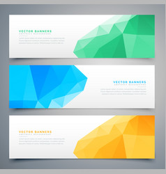 Abstract low poly colorful banners and headers set vector