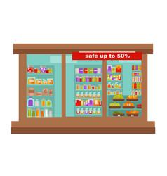 Shop or supermarket grocery store shop-window vector