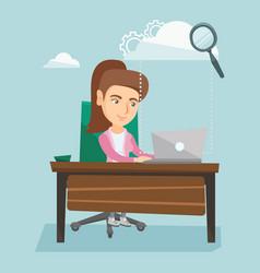 Business woman using cloud computing technologies vector