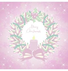 Merry Christmas card with a Christmas wreath vector image