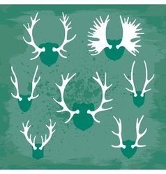 Set horns silhouettes for design vector